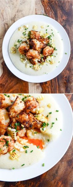Gouda Grits with Smoky Brown Butter Shrimp - Secret Tasty Recipe Foods Fish Recipes, Seafood Recipes, Cooking Recipes, Healthy Cooking, Cooking Tips, Recipies, Butter Shrimp, Seafood Dishes, How Sweet Eats