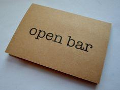 open bar funny groomsmen proposal cards