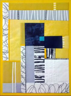 Fabulous photo - take a peek at our piece for even more inspiring ideas! Small Quilts, Mini Quilts, Scrappy Quilts, Quilting Projects, Quilting Designs, Quilting Ideas, Fiber Art Quilts, Yellow Quilts, Quilt Modernen