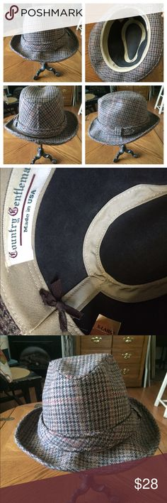 """Vintage Houndstooth Molded Hat COUNTRY GENTLEMAN Awesome Vintage Houndstooth Harris Tweed Wool Molded Hat by COUNTRY GENTLEMAN. A plaid pattern of tan, black and rust. In excellent vintage condition. Size X-Large. Inside circumference 23-1/2"""". Vintage Accessories Hats"""
