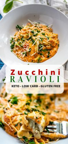 This Zucchini Ravioli is a healthy alternative to a loved comfort food! It is perfect for your low-carb, keto, or gluten free diet. food healthy This Zucchini Ravioli Recipe is a filling low carb and keto dish that the whole family will love. Zucchini Ravioli, Recipe Zucchini, Low Carb Zucchini Recipes, Low Carb Vegetarian Recipes, Zoodles Recipe Low Carb, Chicken Ravioli, Keto Pasta Recipe, Carb Free Recipes, Vegetarian Comfort Food