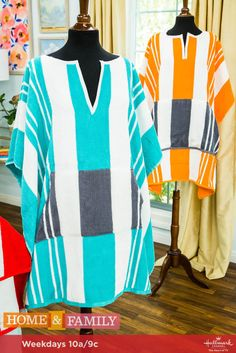These DIY Beach Towel Ponchos are both fashionable AND functional! For more DIYs, tune in weekdays at only on Hallmark Channel! Hallmark Channel, Surf Poncho, Surfergirl Style, Towel Dress, Diy Adult, Kaftan, Textiles, Diy Dress, Sewing Hacks