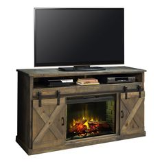 "Dynamic Home Decor Farmhouse 66"" Fireplace Stand Console in Distressed Barnwood w/ Sliding Barn Doors: Missing Product Attributes"