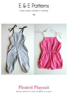 Elegance & Elephants: FREE Pleated Playsuit Pattern size 12 months to 9 years