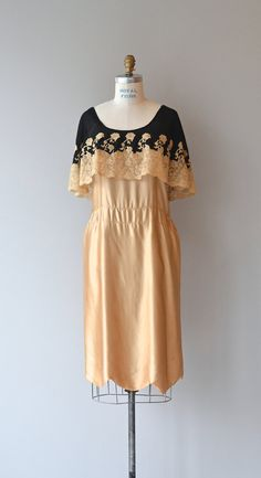 Vintage 1920s shimmery golden silk dress (tank style with unfitted dropped waist) picot scalloped hem and truly lovely black silk and golden lace