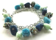 Turquoise and Blue Stones Bracelet by Franca&Nen on Etsy  $20.00 #stonejewelry #bracelet #stonebracelet