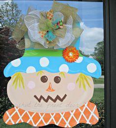 Fall scarecrow wreath wooden door hanger by shutthefrontdoor2, $40.00