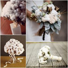 Cotton bouquets! Note that top right has dusty miller and feathers! Bottom right appears to have snowberries?