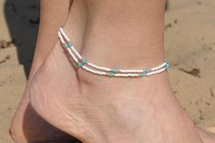 Beaded Anklet Delicate Anklet Dainty anklet Beach anklet Women anklets Summer ankle bracelet simple anklet for her girlfriend gift for her This beaded wrap bracelet is made with seed beads, blue glass crystals nylon thread, silver tone metal clasp. Ankle Jewelry, Body Jewelry, Jewelry Gifts, Foot Bracelet, Anklet Bracelet, Bohemian Jewelry, Beaded Jewelry, Beaded Bracelets, Anklet Designs
