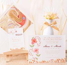 Papeleria para una boda chic: Invitación de boda boho chic. Azulsahara