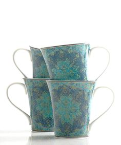 Love this Blue Opulent Eva Mug - Set of Four by PTS America on #zulily! #zulilyfinds