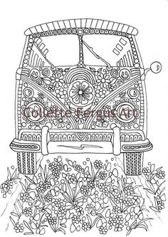 Hippie Van Digital Coloring page for by ColletteByCollette