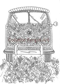 vw kombi campervan coloring page