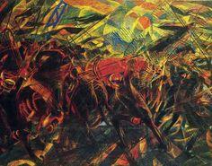 "Obra futurista de Carlo Carrá: ""Funerales por la muerte del anarquista Galli""  Fecha: 1911 Museo: Metropolitan Museum of Art Características: 198,7 x 259,1 cm. Estilo: Futurismo Material: Oleo sobre lienzo"