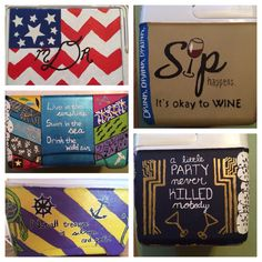 Cooler with American chevron top, collage front, ECU theme, Gatsby side and wine side