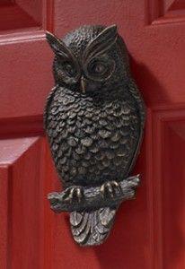 owl door knocker. I'd love this wonderful owl on my door.....love the red door too....