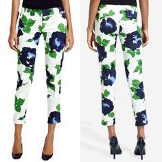 """✨Host Pick✨Floral ankle length pants Off-white Drew fit ankle pants from the Outback Red line from The Limited. Large blue and green watercolor-ish floral design. These are gorgeous and I love them, but I haven't been able to figure it how to style them. 98% cotton, 2% spandex. 26.5"""" inseam. 2 hook and bar closures, zipper fly. Angle front slash pockets, back button welt pockets. Cover shot from thelimited.com. No trades, no PayPal. The Limited Pants Ankle & Cropped"""