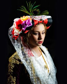 Greek bride from Gastouri, Corfu, Greece. Greek Traditional Dress, Traditional Wedding, Greece Costume, Greek Dress, Greek Beauty, Bridal Headdress, Greece Wedding, Beautiful Costumes, Folk Costume