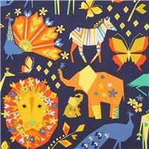 Tela azul marino animal papiroflexia Pride de Michael Miller Origami Oasis