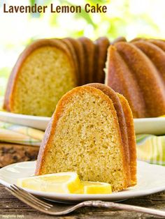 Lavender Lemon Cake is moist, full of fresh flavor, baked in a bundt pan, and has a light honey lemon glaze.