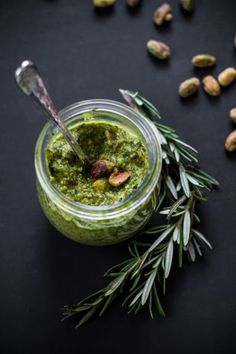 Healthy Pistachio Rosemary Pesto with Power Greens Recipe | edibleperspective.com