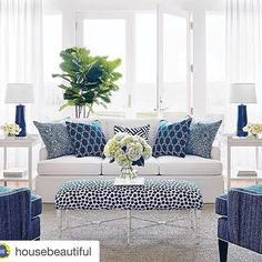 #Repost @housebeautiful with @repostapp. ・・・ Today's dream destination: a soothing sunroom in shades of blue and white. (via partner @thibaut_1886) #indooroutdoorfabric #Thibaut #blueandwhiteforever