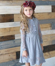 Look at this #zulilyfind! Just Couture Gray Sheer Lace Button-Front Dress - Toddler & Girls by Just Couture #zulilyfinds