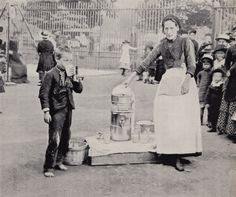 A sherbert seller is photographed as a boy drinks from a cup at Greenwich Park, in one of the many photographs commissioned by Charles Spurgeon the Younger, a priest at South St Baptist Chapel who hoped to use them in his sermons Victorian Street, Victorian London, Vintage London, Old London, East London, Victorian Era, Victorian Women, Edwardian Era, Old Greenwich