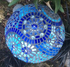 Blue Mosaic Mushroom (viewed from the top) I made, inspired by all the beautiful gazing balls on pintrest