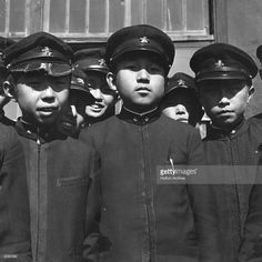 1938: Crown Prince Akihito, later Emperor Akihito, with some of his school friends at the Imperial School in Tokyo.