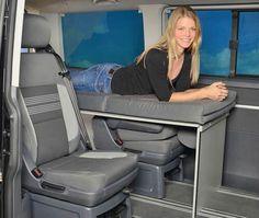 vanessa sleepingsystems for you camper Van Minivan Camping, Camping Bedarf, Camping Storage, T3 Camper, Mini Camper, Camper Van, Minivan Camper Conversion, Campervan Bed, T6 California