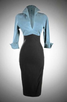 Lauren Dress style wiggle dress in blue and black by Pinup Couture at UK stockists Deadly is the Female. Take your pinup style to the office! 1950s Fashion, Vintage Fashion, Look Fashion, Womens Fashion, Fashion Design, Dress Skirt, Dress Up, Sheath Dress, Vintage Dresses