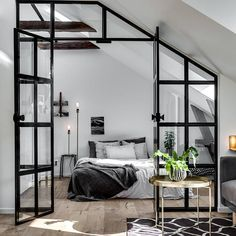 1001 ideas for the modern top floor apartment - attic apartment set up examples black white design bed bedroom - : ? 1001 ideas for the modern top floor apartment - attic apartment set up examples black white design bed bedroom - Bedroom Loft, Home Bedroom, Bedroom Wall, Bedroom Ideas, Bedroom Designs, Attic Loft, Bedroom Divider, Bedroom Modern, Bedroom Inspo