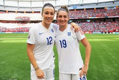 England's goalscorers Bronze and Taylor pose following the match as the Lionesses booked their place in the semi finals