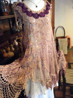 Luv Lucy crochet dress Lucy's Autumn Plums by LuvLucyArtToWear, $225.00
