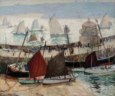 """""""The Old Lighthouse and Fleets of St. Ives, Cornwall,"""" Richard Hayley Lever, ca. oil on canvas, 50 x Vallejo Gallery. Drawn Fish, St Ives Cornwall, Popular Artists, Sea Art, Coastal Art, Historical Pictures, Fishing Boats, Lighthouse, Oil On Canvas"""