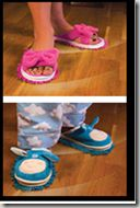 Slippers for you and your kids with scrubbers on the bottom to clean the floors.