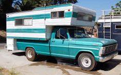 Ford Truck 2500 w/Camper Vintage Campers Trailers, Retro Campers, Camping Trailers, Cabover Camper, Truck Camper, Classic Campers, Little Trailer, Vintage Rv, Cool Campers