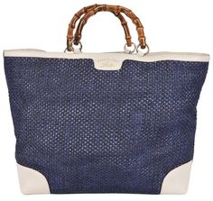 NEW Gucci 338964 Large Blue Straw Leather Bamboo Handle Purse Tote Shopper…