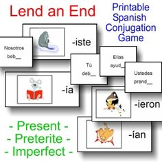 Printable Spanish verb conjugation practice game (present, preterite, imperfect tenses) from PrintableSpanish.com
