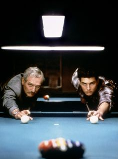 The Color of Money - Paul Newman, Tom Cruise. This was the hottest scene, last one in the movie. Newman reared up, pulled that cue stick back, well it was hot!