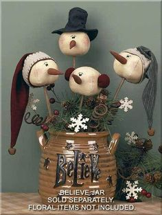 Honey In Me Christmas Primitive Country Whimsy Rolly Polly Snowman Wand Set -- Discover more by checking out the picture link. (This is an affiliate link). Primitive Christmas, Country Christmas, Christmas Snowman, Winter Christmas, Christmas Holidays, Christmas Ornaments, Father Christmas, Snowman Decorations, Snowman Crafts