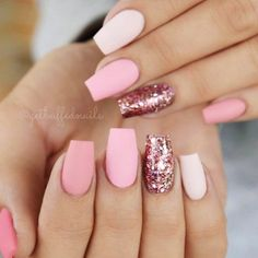 There are three kinds of fake nails which all come from the family of plastics. Acrylic nails are a liquid and powder mix. They are mixed in front of you and then they are brushed onto your nails and shaped. These nails are air dried. Matte Pink Nails, Pink Glitter Nails, Cute Acrylic Nails, Acrylic Gel, Acrylic Spring Nails, Acrylic Nail Designs Glitter, Glitter Nikes, Coffin Nails Glitter, Matte Nail Art
