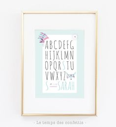 Affiche personnalisée avec prénom de votre enfant abécédaire décoration chambre bébé cadeaux de naissance personnalisé indien tippi plume de la boutique Letempsdesconfettis sur Etsy