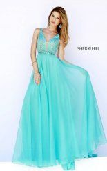 Glitzy Sherri Hill 32150 Aqua Crystal Prom Gown Full Length