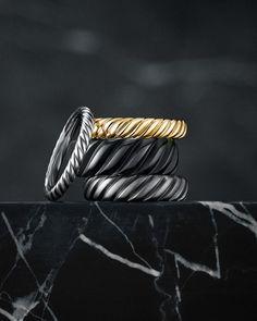Wedding Ring Designs, Wedding Jewelry, Wedding Rings, Wedding Ideas, David Yurman Mens, Men's Jewelry Rings, Jewelry Art, Jewelery, Women Jewelry