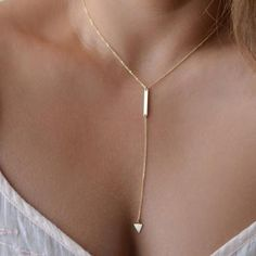 Collar de la aleación de las borlas de la cadena triangulares-Oro