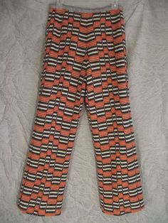 Fabulous MOD Orange Grey geometric Knit Silk Lined Vintage 60s Pants S M