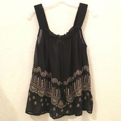 Forever 21 embroidered top (L) Please note that this is slightly see-through, so may be best worn with a tank-top underneath. Let me know if you have any questions. Forever 21 Tops