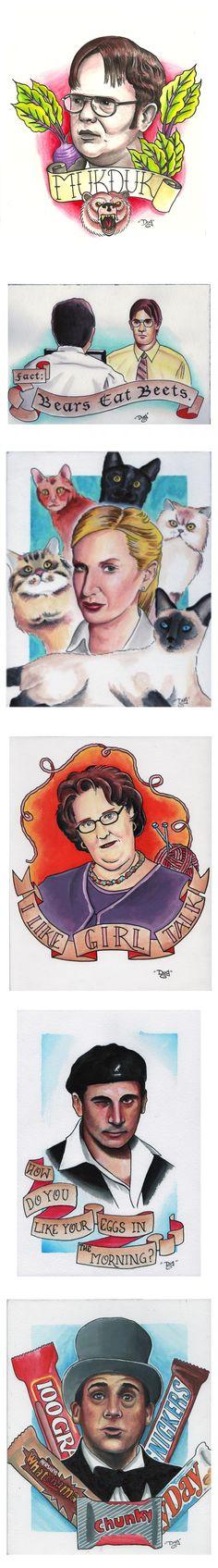 The Office paintings. Dwight Schrute (Rainn Wilson) Mukduk, Jim Halpert (John Krasinski) Bears Eat Beets. Michael Scott (Steve Carell) as Willy Wonka. #art #artwork #illustration